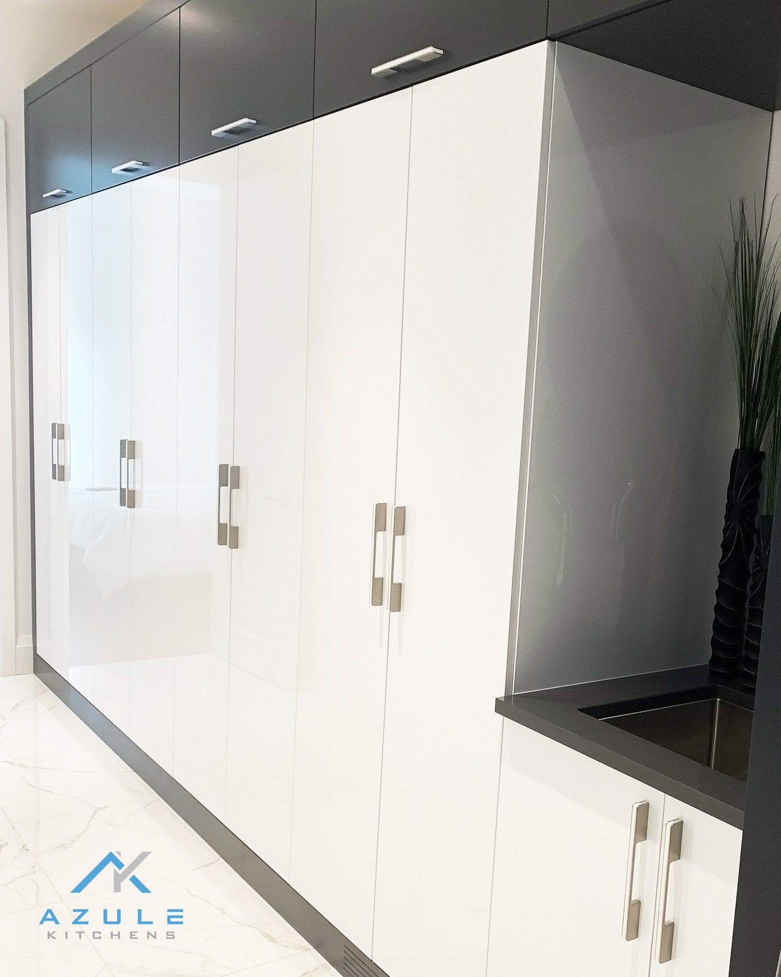 Azule Kitchens Mudroom Cabinets White And Grey With Laundry