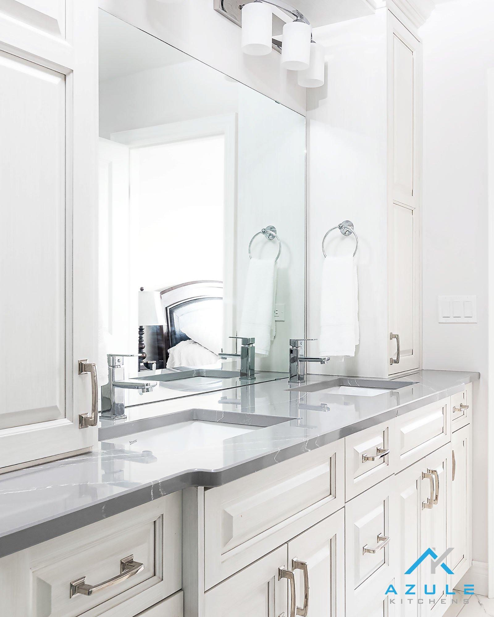 Azule Kitchens – Modern Bathroom Gloss White Storage Cabinet Basin