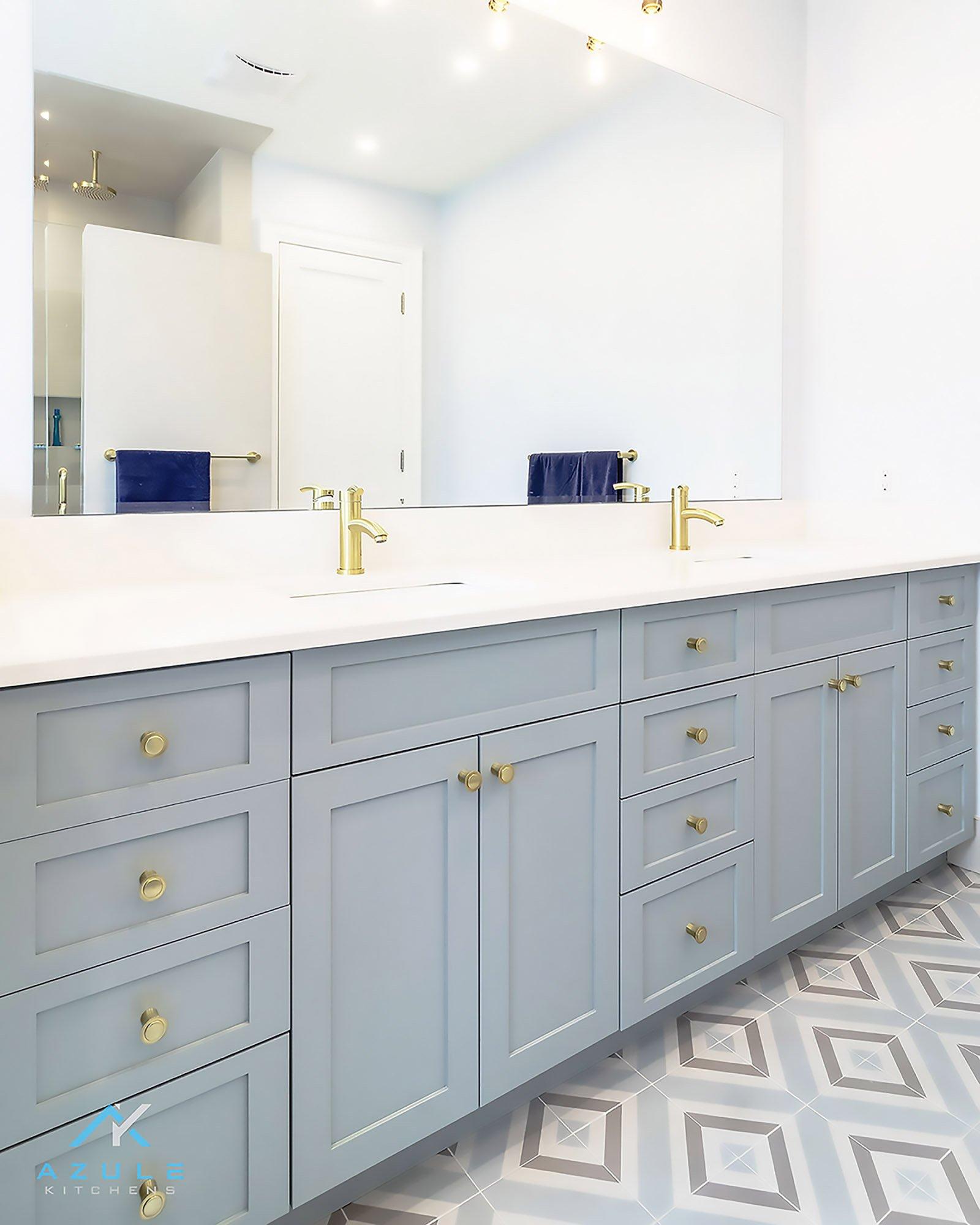 Blue Bethroom Vanity With Blue Patttern Tile
