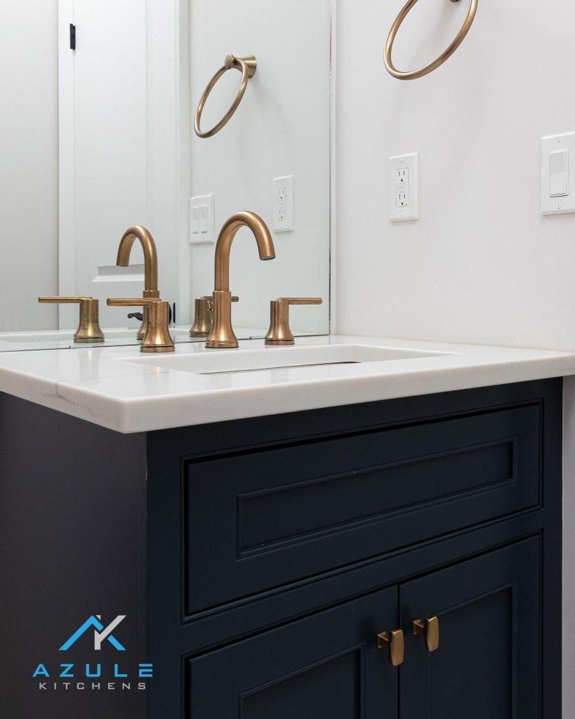 Blue Flush Inset Custom Bathroom Vanity
