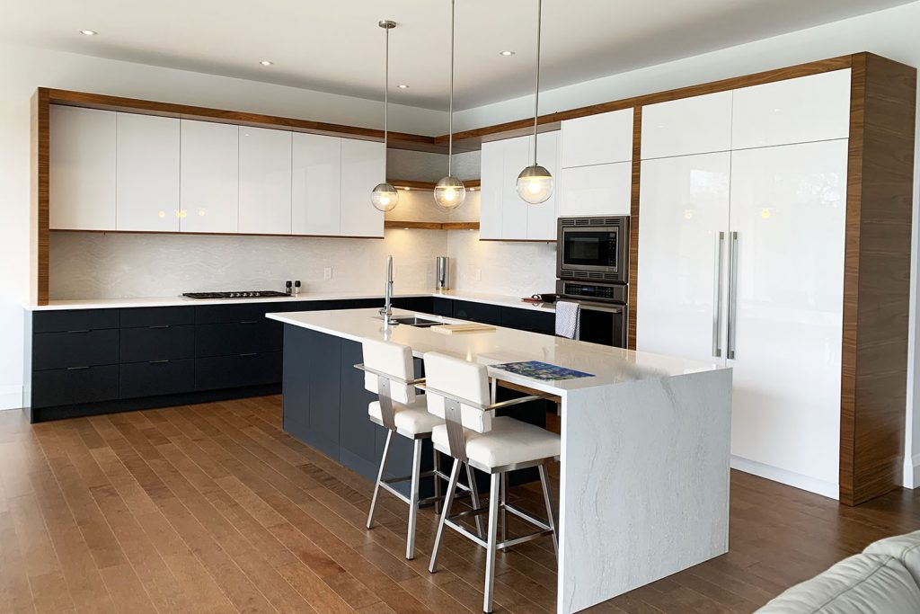 Contemporary White And Walnut Kitchen Cabinets