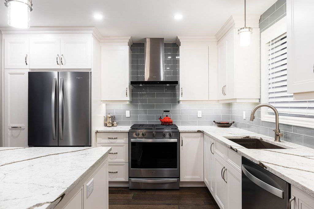 Grey Painted Kitchen Cabinet Island Bethany Tilstra Hamilton