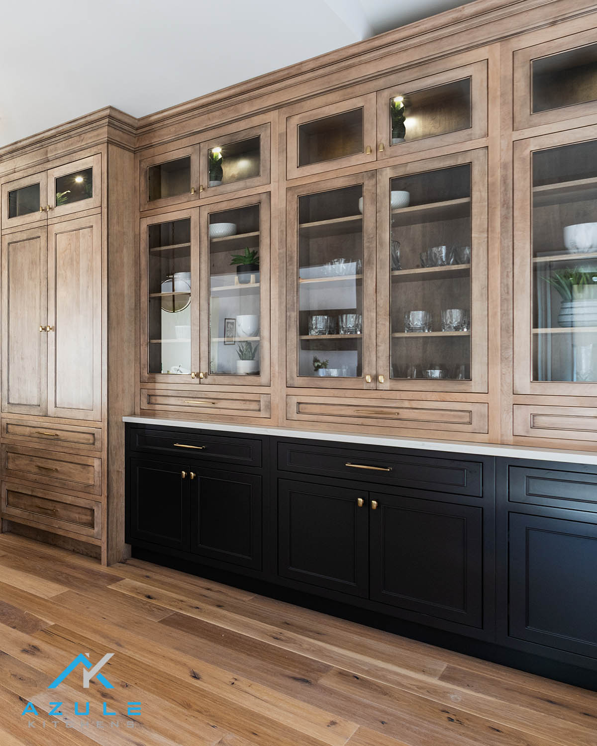 Maple Stained Built In Hutch Azule Kitchens