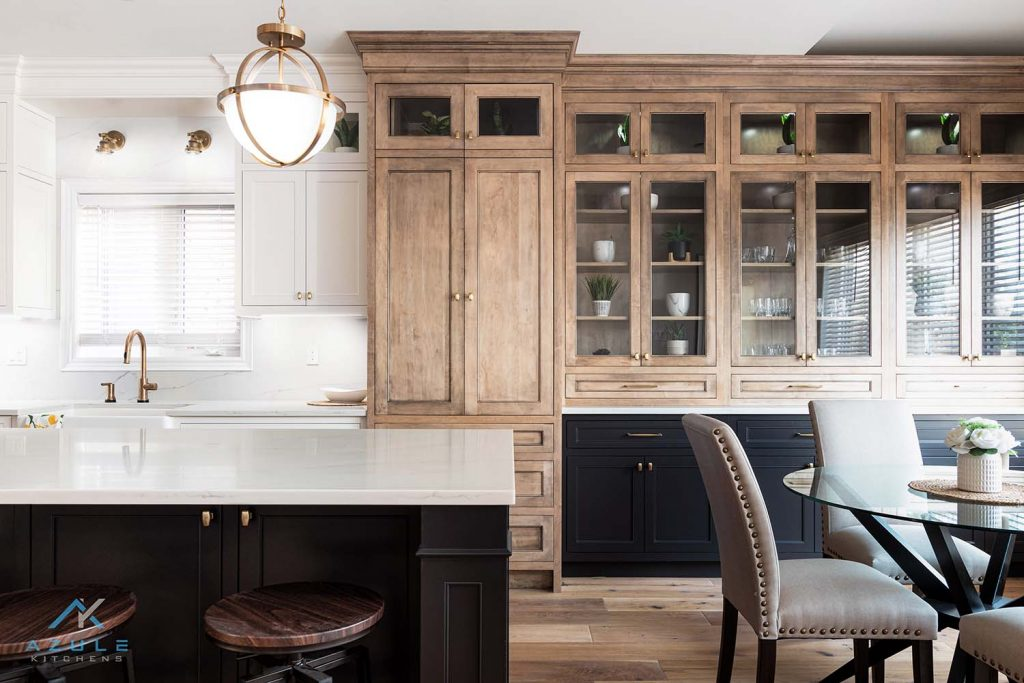 White Kitchen With Charcoal Island Transitional