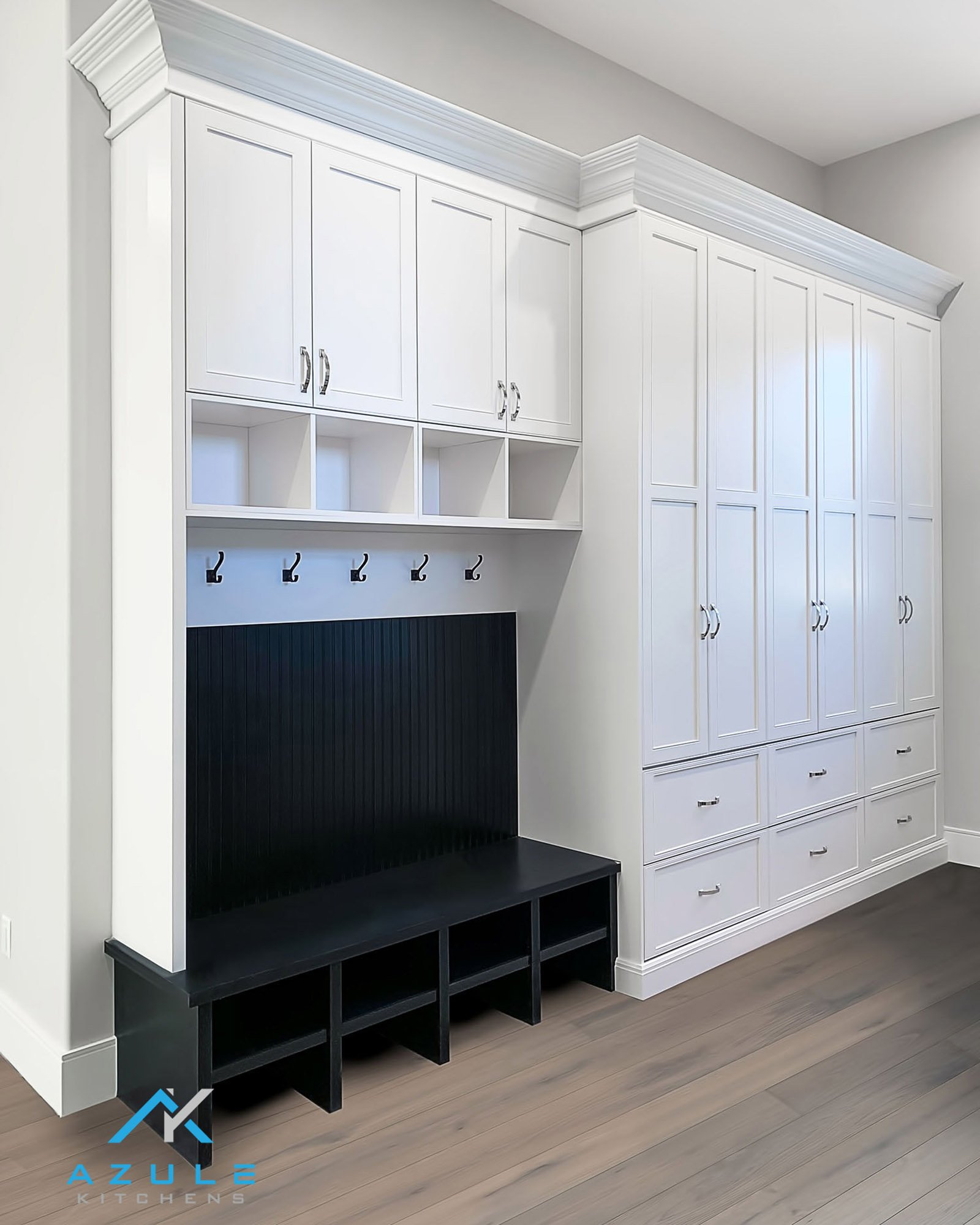 White Painted Built In Mudroom Cabinetry With Seating