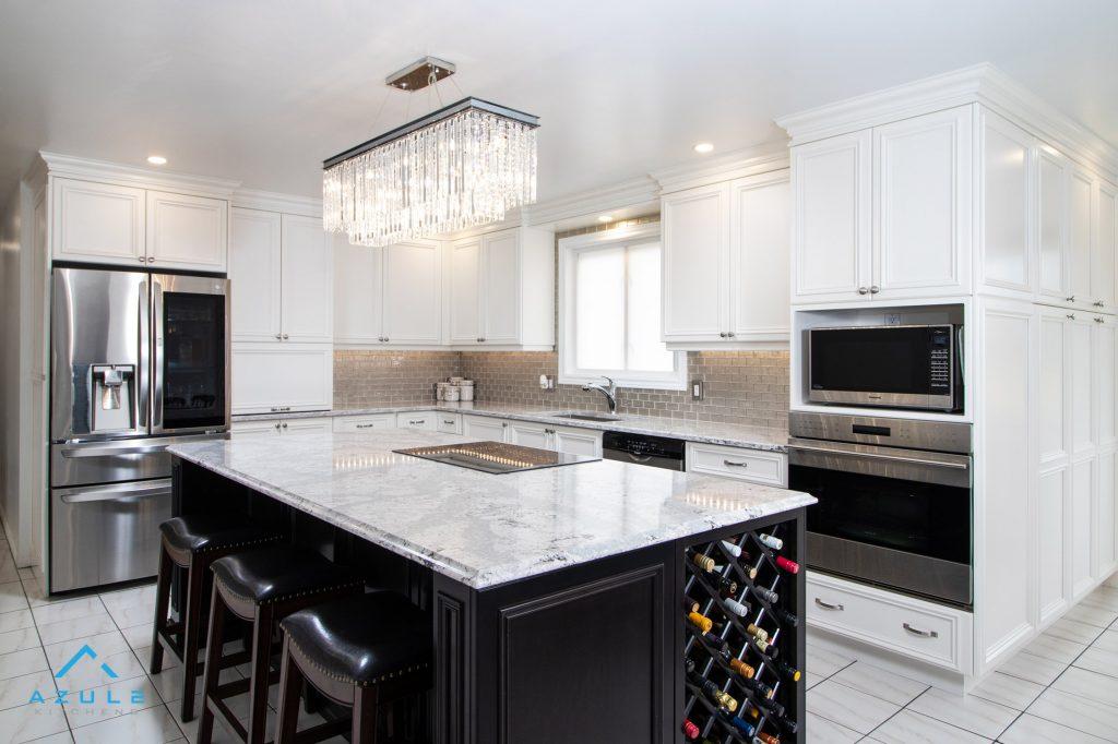 White Kitchen With Black Island By Azule Kitchens