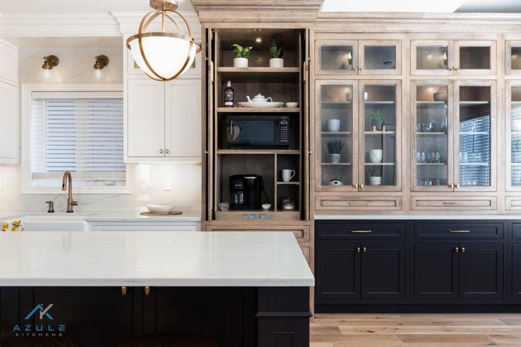 Modern Farmhouse White Kitchen With Blue Island Azule Kitchens